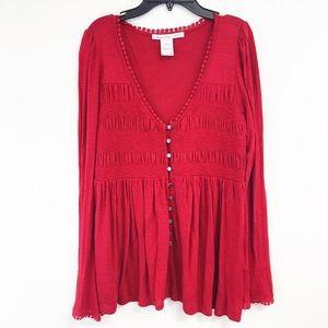 American Rag Red knit button pendulum blouse L